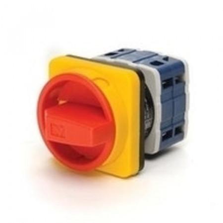 Grebenasti prekidač PSA025AK341E, 3x25A (0-1), 2 nivoa (ž/c) 90°, 6kA, 48x48mm IP54 Emas