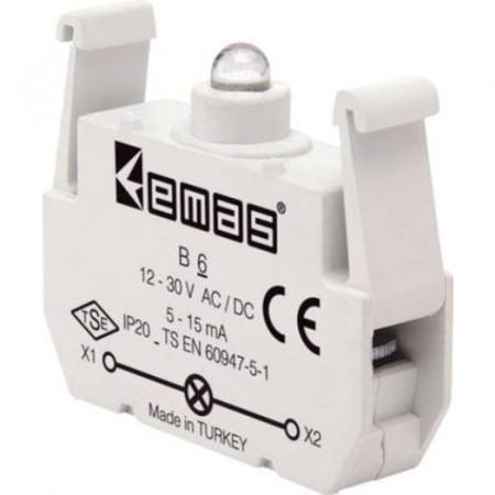 Kontakt blok sa LED diodom B6, 5-15mA, 10-30V AC/DC crvena IP20 Emas