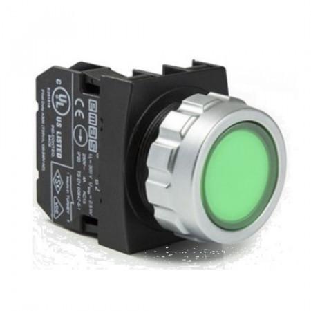 Taster zeleni H100DY,1NO, oklopljen, ugradnja na fi30mm, 4A 250Vac IP50 Emas