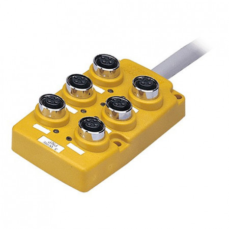 Konektorska kutija, PT6-3DP, 6 port, 4pin M12, PNP, LED indikacija,5m kabal,12-24Vdc IP67 Autonics