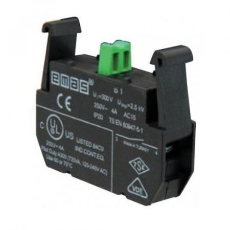 Kontakt blok B1, start-radni, 1NO, 250Vac IP20 Emas