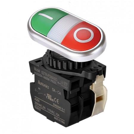 Taster blok S2TR-P3WABDM, NO/NC, sa LED indikacijom 12-24Vdc, crveno/zeleni, 6A 250Vac IP50 Autonics