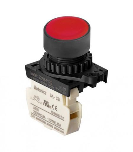 Taster crveni S2PR-P1RBM, 1NC, 6A 250Vac IP52 Autonics
