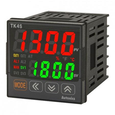 Termoregulator TK4S-14RR,disp.2 reda-4d,48x48mm,1 alarm,CT,DI-1,2 relejna,100-240Vac IP65 Autonics
