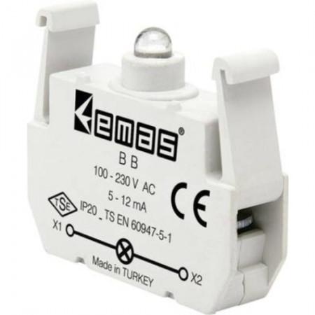 Kontakt blok sa LED diodom BB, 5-12mA, 100-230V AC bela IP20 Emas