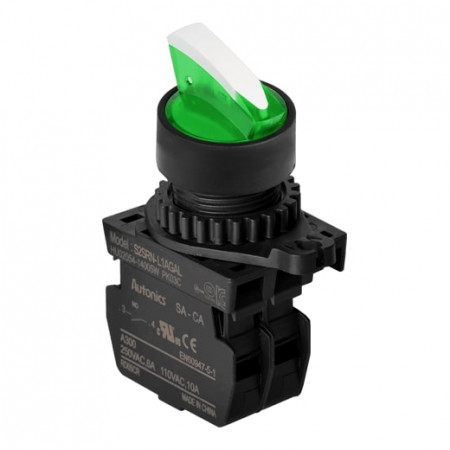 Prekidač dvopoložajni S2SRN-L3AGADM, 1NO, sa LED indikacijom 12-24Vdc,zeleni,6A 250Vac IP52 Autonics
