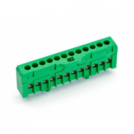 Redna stezaljka QBLOK1202, jednopolna, 12 rupa, zelena, tip QBLOK12/TE Cabur