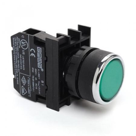 Taster zeleni B100DY,1NO, oklopljen, ugradnja na fi22mm, 4A 250Vac IP50 Emas