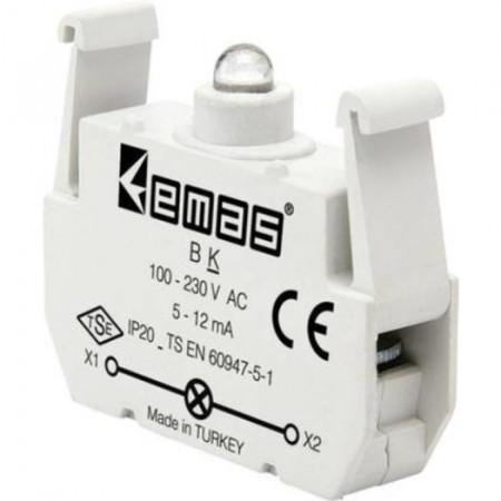 Kontakt blok sa LED diodom BK, 5-12mA, 100-230V AC crvena IP20 Emas