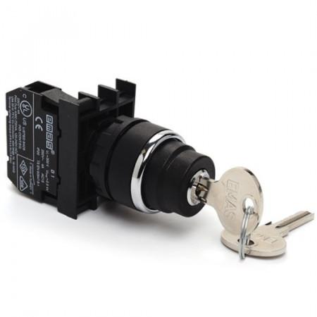 Prekidač tropoložajni B102AA31, 2-0-1, 1NO+1NC, fi22mm, povratni, sa ključem, 4A 250Vac IP50 Emas