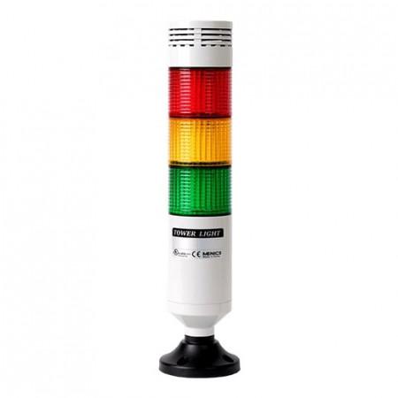 Signalni toranj PTE-AGB-302-RYG-B, D56mm, 3 boje, zujalica 80dB(fixed), 24Vac/dc,crni, IP65 Autonics