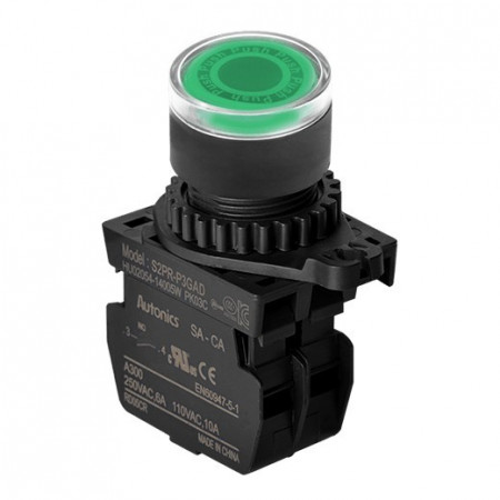 Taster zeleni S2PR-P3GALM, 1NO, sa LED indikacijom, 110-220Vac, 6A 250Vac IP52 Autonics