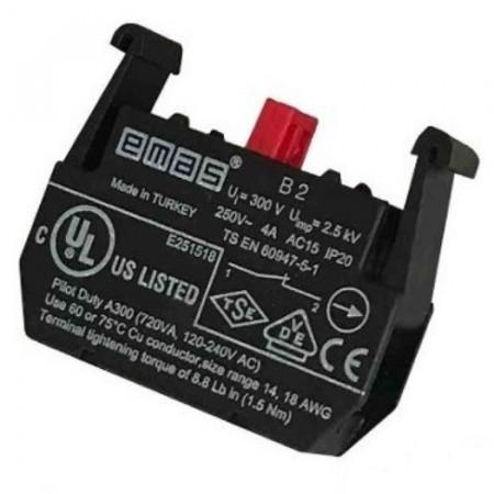 Kontakt blok B2, stop-mirni, 1NC, 250Vac IP20 Emas