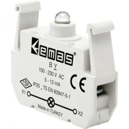 Kontakt blok sa LED diodom BY, 5-12mA, 100-230V AC zelena IP20 Emas