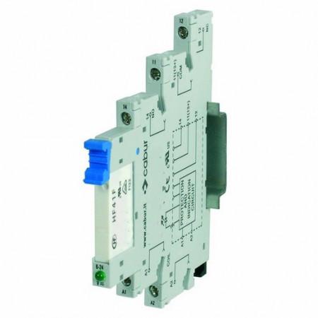 """Relej X766842, špulna 24Vdc, SPDT NO/NC, 250Vac 6A, LED, DIN """"Cabur"""""""