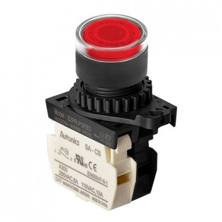 Taster crveni S2PR-P3RBLM, 1NC, sa LED indikacijom 110-220Vac, 6A 250Vac IP52 Autonics