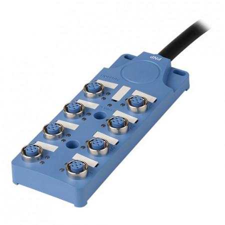 Konektorska kutija, PT8-4DP5-10, 8 port, 5pin M12, PNP, LED indikacija, 12-24Vdc, IP67 Autonics