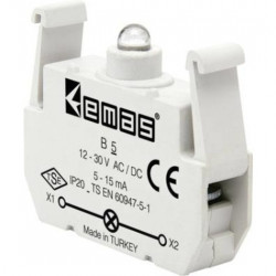 Kontakt blok sa LED diodom B5, 5-15mA, 10-30V AC/DC bela IP20 Emas
