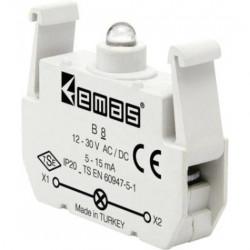 Kontakt blok sa LED diodom B8, 5-15mA, 10-30V AC/DC žuta IP20 Emas