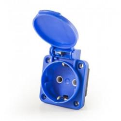 Utičnica ugradna na panel EPREU1M,16A, 2P+E, sa poklopcem, plava, 220Vac IP20 Emas
