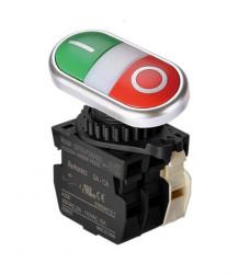 Taster blok S2TR-P3WABLM, NO/NC,sa LED indikacijom 110-220Vac,crveno/zeleni, 6A 250Vac IP50 Autonics