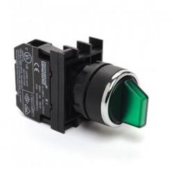 Prekidač tropoložajni B101SL30Y, 1-0-2, 2NO, fi22mm 60°, zeleni, 4A 250Vac IP50 Emas