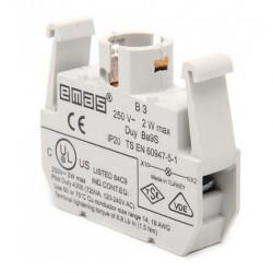 Kontakt blok B3, za osvetljenje, za sijalice BA9S, 250Vac IP20 Emas