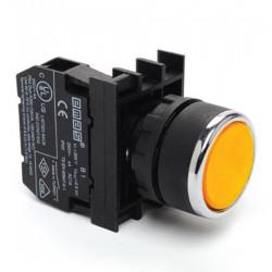 Taster žuti B100DS, 1NO, oklopljen, ugradnja na fi22mm, 4A 250Vac IP50 Emas