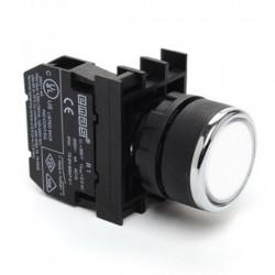 Taster beli B100DB, 1NO, oklopljen, ugradnja na fi22mm, 4A 250Vac IP50 Emas