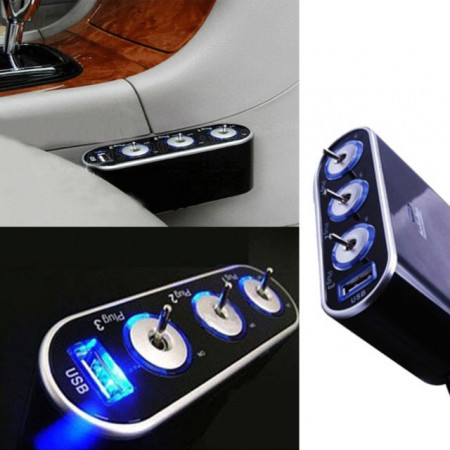 Accesoriu auto Bricheta auto cu 3 intrari plus USB