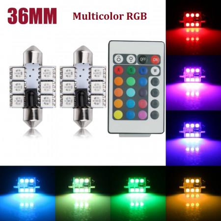 Accesoriu auto Set Becuri LED SOFIT 6 SMD 36MM Lumina Ambientala Auto, Multicolor RGB cu Telecomanda si Intensitate Reglabila