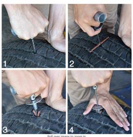 Kit vulcanizare auto la rece cu snur, adeziv cauciuc si cutter, reparare anvelope tubeless