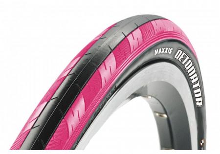 Anvelopa Maxxis Detonator 700x23C black pink 60TPI dual wire Silkworm Road