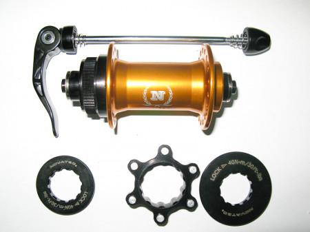 Butuc fata Novatec QR-5, Gold, IS & Center Lock mount
