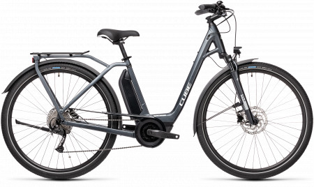 BICICLETA CUBE TOWN SPORT HYBRID ONE 400 EASY ENTRY Iridium Grey