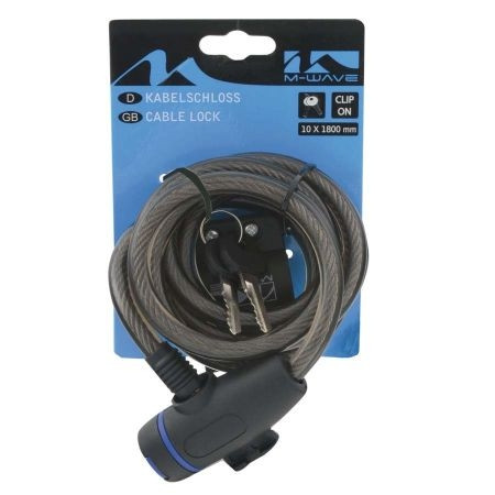 Antifurt M-wave negru cu cheie 10x1800mm
