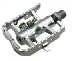 Pedale HTI SPD-MTB Multi-210S bile ax CNC Cr-Mo placute incluse platforma+SPD argintii