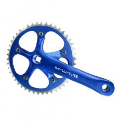 Angrenaj pedalier albastru 46T M-wave