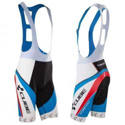 Pantaloni Ciclism Cube BIB Short Teamline alb negru albastru rosu