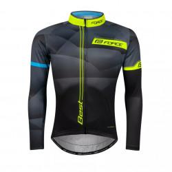 Bluza ciclism Force Best maneci lungi negru-fluo