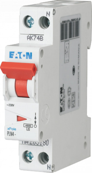 Intrerupator automat intr-un singur modul 1P+N 10A 4,5kA clasa C Eaton