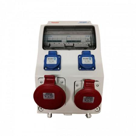 Tablou electric Famatel echipat cu o priza trifazata 5P 16A + o priza trifazata 5P 32A + 2 prize monofazate schuko 16A, 9L IP44 cu aparataj automat Eaton