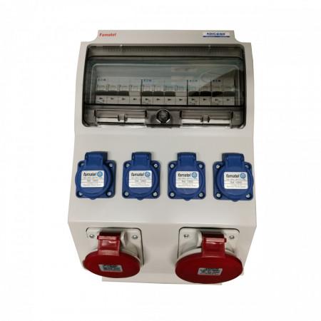 Tablou electric Famatel echipat cu o priza trifazata 5P 16A + o priza trifazata 5P 32A + 4 prize monofazate schuko 16A, 12L IP44 cu aparataj automat Eaton