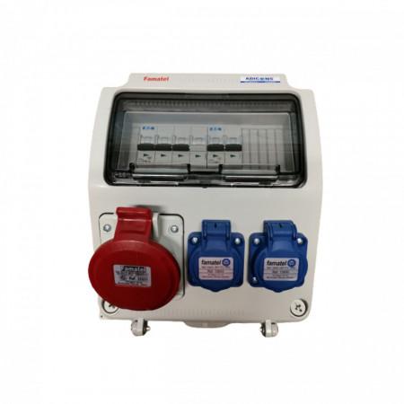 Tablou electric Famatel echipat cu o priza trifazata 5P 16A + 2 prize monofazate schuko 16A, 9L IP44 cu aparataj automat Eaton