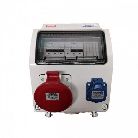 Tablou electric Famatel echipat cu o priza trifazata 5P 32A + o priza monofazata schuko 16A, 9L IP44 cu aparataj automat Eaton