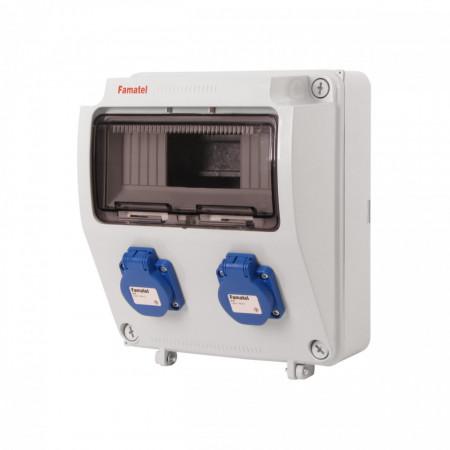 Tablou electric echipat cu 2 prize monofazate schuko 16A, 9L IP54 Famatel