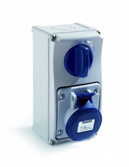 Priza industriala interblocabila monofazata 3P 16A 230V IP44 PT Famatel