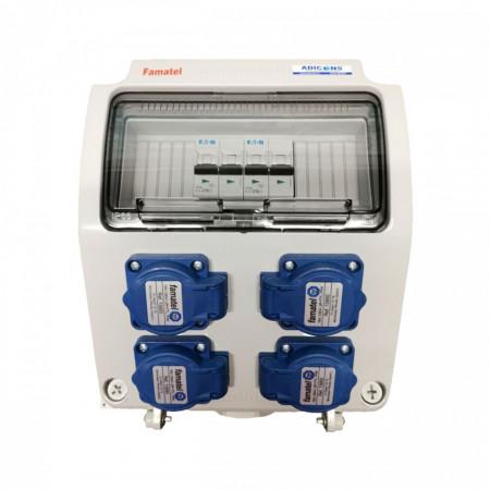 Tablou electric Famatel echipat cu 4 prize monofazate schuko 16A, 9L IP54 cu aparataj automat Eaton