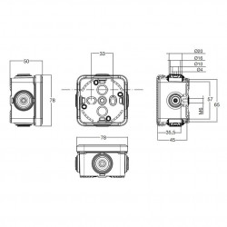 Doza aparenta 65x65x45mm cu presetupe IP65 Famatel