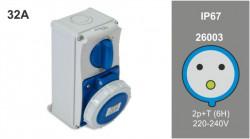 Priza industriala interblocabila monofazata 3P 32A 230V IP67 PT Famatel